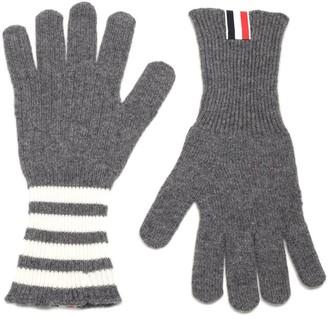 Thom Browne 4-Bar Striped Gloves