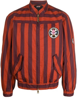 Vivienne Westwood Striped Embroidered-Patch Bomber Jacket