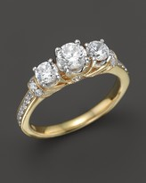Bloomingdale's Diamond 3-Stone Ring with Pave Sides in 18K Yellow Gold, 1.0 ct. t.w. - 100% Exclusive