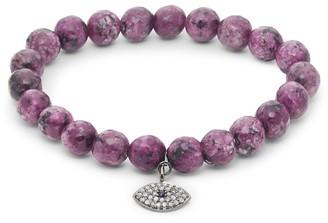 Bavna Diamond Sapphire Agate Sterling Silver Stretch Bracelet