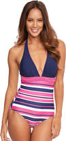 Figleaves Tuscany Stripe Halter Tummy Control Swimsuit