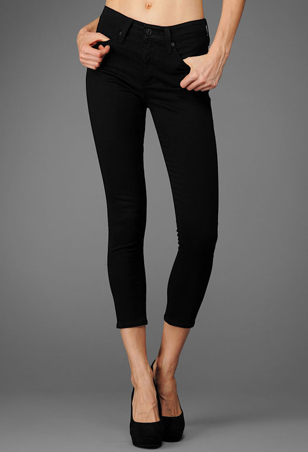 AG Jeans The Sateen Farrah Skinny Crop - Super Black