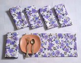 """ShalinIndia Floral Cotton Dinner Napkins - 20"""" x 20"""" - Set of 6 Premium Table Linens for the Dining Room - White, Purple and Green Rose"""