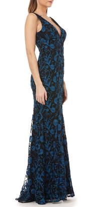 Carmen Marc Valvo V-Neck Sleeveless Embroidered Overlay Column Gown