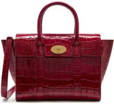 Mulberry Small New Bayswater Raspberry Croc Print