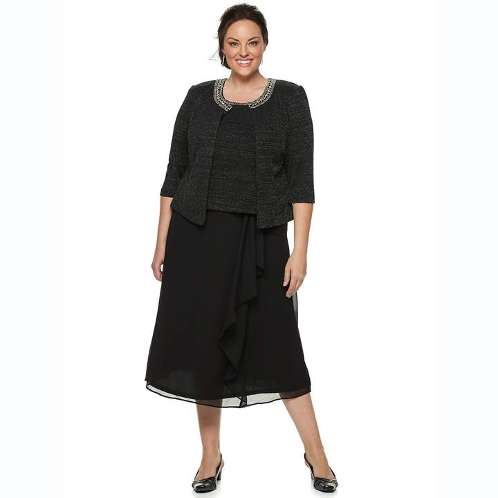 Plus Size 3-Piece Metallic Skirt, Top & Jacket Set