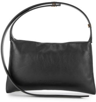 Simon Miller Mini Puffin black leather top handle bag