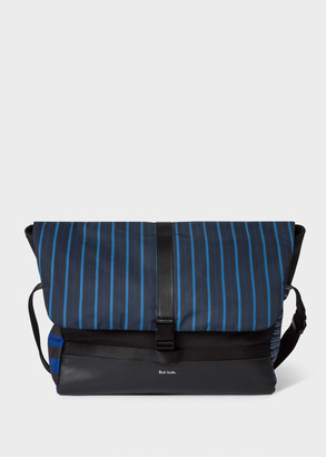 Paul Smith Blue And Black Stripe Courier Bag