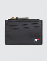 MAISON KITSUNÉ Tricolor Zipped Leather Card Holder