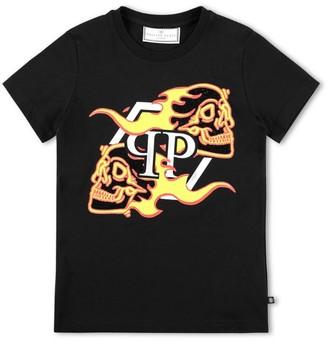 Philipp Plein Junior Flaming Skull T-Shirt (4-16 Years)