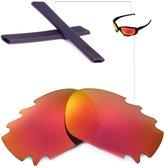 Walleva WL Fire Red Polarized Vented Lens+Black Rubber Kit 4 Oakley Racing Jacket