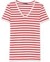 Petit Bateau Womens striped original rib V-neck T-shirt