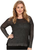 NYDJ Plus Size Plus Size Metallic Foil Coated Pointelle Sweater