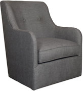 Horchow Cali St. Clair Charcoal Tweed Swivel Chair