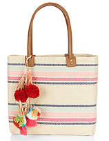 Straw Studios Striped Tasseled Pom Pom Beach Tote