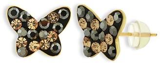 Swarovski Relex ReLex Girls' Earrings BLACK - Black 14k Gold Butterfly Earrings With Crystals