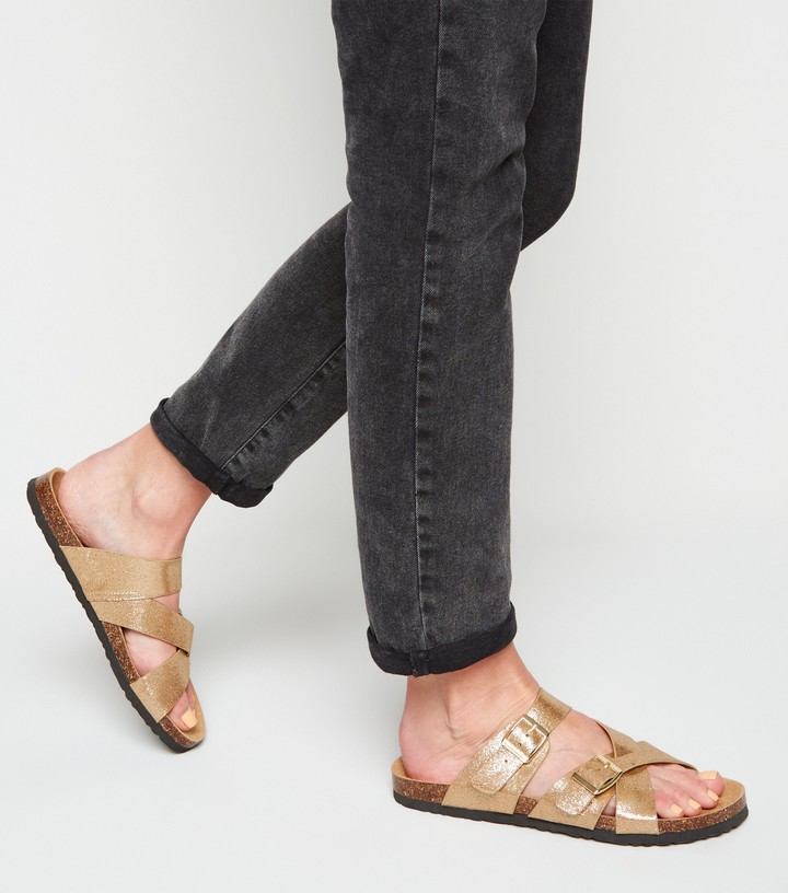 Thumbnail for your product : New Look Wide Fit Cross Strap Buckle Footbed Sandals