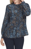 Lafayette 148 New York Jenalee Sophisticated Snake-Print Long-Sleeve Silk Blouse