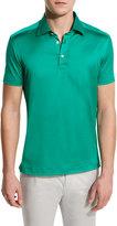 Kiton Solid Sateen Polo Shirt, Green