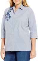 Westbound Plus Button Front Embroidered Shirt