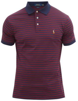 Polo Ralph Lauren Striped Logo-embroidered Cotton Polo Shirt - Mens - Burgundy