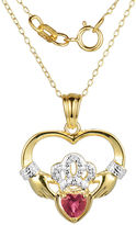 JCPenney FINE JEWELRY Heart-Shaped Lab-Created Ruby and Diamond-Accent Claddagh Pendant Necklace