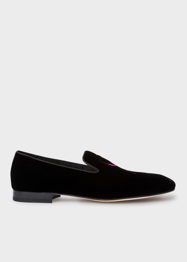 Paul Smith Men's Black Velvet 'African Beetle' Embroidered 'Dryden' Loafers