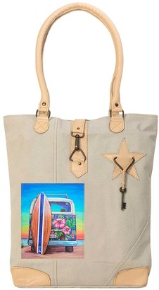 Vintage Addiction Women's Totebags Tan - Tan Minibus Summer Loving Leather-Accent Canvas Tote