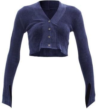Jacquemus Cropped Velour Cardigan - Navy