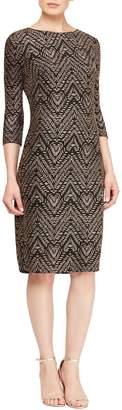 SL Fashions Long Sleeve Patterned Scoop Back Dress