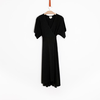 Bunti - The Black Wrap Dress in Organic Jersey Cotton - S/M | organic cotton | black - Black/Black