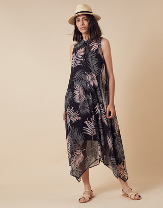 Under Armour Lola Palm Print Midi Dress in Recycled Fabric Black