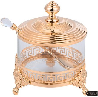Matashi Home Decorative Dining Tabletop Showpiece Rose Gold Sugar Bowl, Honey Dish, Candy Dish Glass BowlContemporary Design with Crystal Studded Spoon