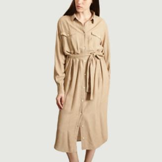 Samsoe & Samsoe Beige Viscose Becky Flannel Shirt Dress - xs   viscose   beige - Beige