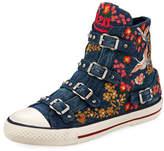 Ash Vivi Multi-Buckle Embroidered Denim High-Top Sneaker