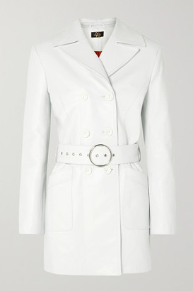 De La Vali Twiggy Belted Double-breasted Leather Coat - White