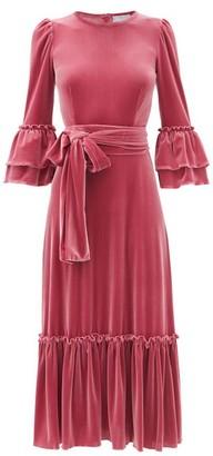 Luisa Beccaria Tie-waist Ruffled Velvet Midi Dress - Pink