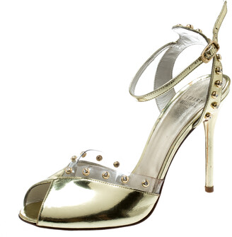 Stuart Weitzman Metallic Gold Patent Leather And PVC Trim Studded Ankle Strap Sandals Size 39.5