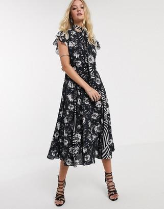 AllSaints kiti amapola orinted shirt midi dress