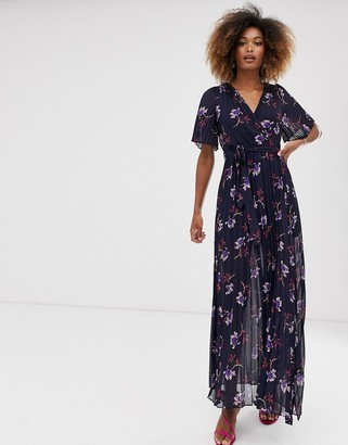 Liquorish wrap maxi dress with pleated skirt in floral