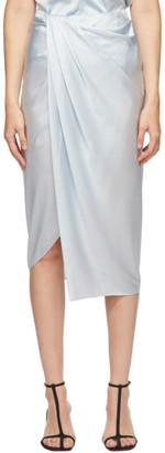 Helmut Lang Blue Silk Satin Ruched Skirt