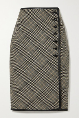 Saint Laurent Leather-trimmed Prince Of Wales Checked Wool Skirt - Beige