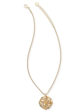 """Charter Club Gold-Tone Pave Love Knot Pendant Necklace, 17"""" + 2"""" extender, Created for Macy's"""