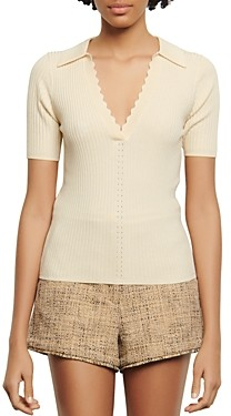Sandro Poline Rib-Knit Top