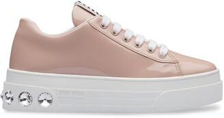 Miu Miu Crystal Embellished Platform Sneakers