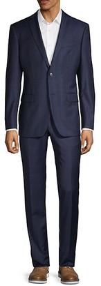John Varvatos Slim-Fit Windowpane Plaid Wool-Blend Suit