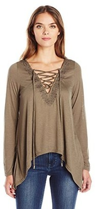 Taylor & Sage Women's Long Sleeve Lace up Top with Embroidery