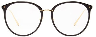 Linda Farrow Kings Round Acetate And 18kt Gold-plated Glasses - Black Gold