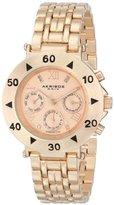 Akribos XXIV Women's AK686RG Conqueror Swiss Quartz Multifunction Diamond Accented Rose-tone Bracelet Watch