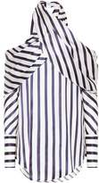 Monse Striped satin cold-shoulder top